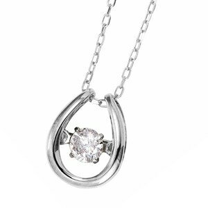 その他 ダイヤモンドペンダント/ネックレス 一粒 K18 ホワイトゴールド 0.08ct ダンシングストーン ダイヤモンドスウィングネックレス 揺れるダイヤが輝きを増す☆ 馬蹄モチーフ 揺れる ダイヤ ds-1648372