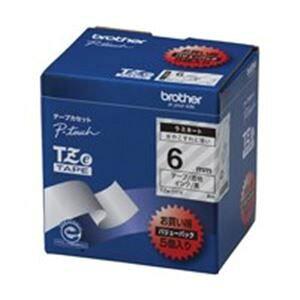 その他 (業務用5セット) brother ブラザー工業 文字テープ/ラベルプリンター用テープ 【幅:6mm】 5個入り TZe-111V 透明に黒文字 ds-1745419