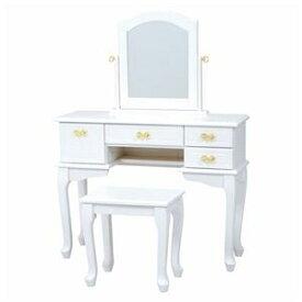 その他 ドレッサーセット(化粧台・スツールセット) 猫足 木製 鏡/リボン取っ手付き ホワイト(白) ds-1831636