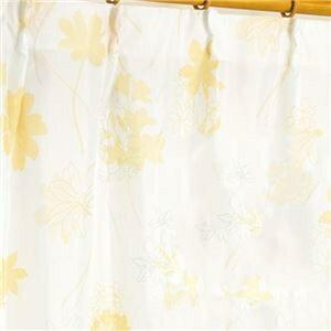 その他 外から見えにくい遮像レースカーテン 【2枚組 100×198cm/イエロー】 フラワー柄 洗える ボイルレース タッセル付き ds-1927221