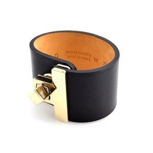 その他 Maison Boinet (メゾンボワネ) 95027G 79 4 Black M ヒネリ金具 レザー ブレスレット バングル 40mm ds-1992381