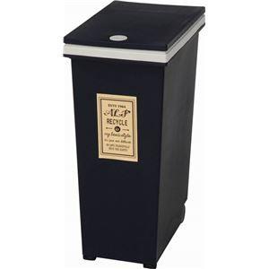 その他 プッシュ式ダストボックス/ゴミ箱 【30L ネイビー】 幅37cm ポリプロピレン製 キャスター付き 『アルフ』【代引不可】 ds-1950851