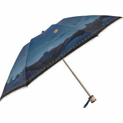 ディズニー 折りたたみ傘 日傘/晴雨兼用 キャンバスパラソル アラジン/マジカルナイト 6本骨 50cm FF-02851