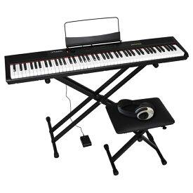 キョーリツ artesia 4点セット 12種類のボイス搭載 88鍵盤 デジタルピアノ Performer (ブラック) PERFORMER_BKSET