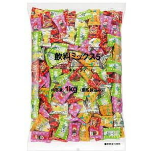 その他 (まとめ)ロッテ 飲料ミックス5 キャンディー 徳用 1kg袋【×5セット】 ds-2171760