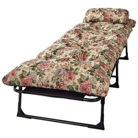 その他 枕&ごろ寝布団付き リクライニングベッド/寝具 【セミシングル 6段階 花柄】 幅60cm 折りたたみ スチールパイプ製フレーム ds-2200345