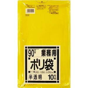 その他 (まとめ) 日本サニパック 業務用ポリ袋 黄色半透明 90L G-24 1パック(10枚) 【×30セット】 ds-2235729