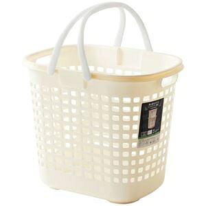 その他 (まとめ) S-ロングバスケット/収納かご 【アイボリー】深型 持ち手付き 洗濯かご 脱衣かご おもちゃ収納 【20個セット】 ds-2259344
