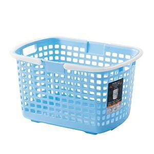 その他 (まとめ) S-ライトバスケット/収納かご 【ブルー】 持ち手付き 積み重ね可 洗濯かご 脱衣かご おもちゃ収納 【24個セット】 ds-2259345