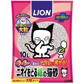 その他 (まとめ)LION ニオイをとる紙の猫砂 10L (ペット用品)【×5セット】 ds-2267005