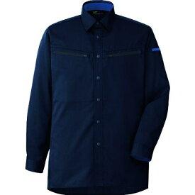 ミドリ安全 男女共用 ハーネス対応 長袖シャツ VES2597 上 ネイビー 4L tr-1493332
