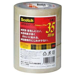 その他 3M スコッチ 透明粘着テープ24mm×35m 500-3-2435-5P 1セット(50巻:5巻×10パック) ds-2292824