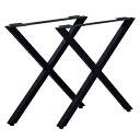 その他 テーブルキッツ テーブル用脚【ハイタイプ X型 2本組 ブラック】 スチール製 アジャスター付 脚のみ【代引不可…