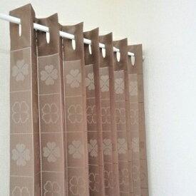 その他 2WAYパタパタカーテン 間仕切り 暖簾 ロング アコーディオン カーテン 日本製 フリーカット クローバー ブラウン 幅100cm×丈220cm(1枚入り) ds-2322489