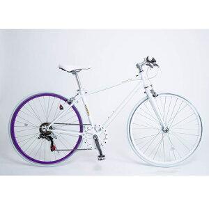 21Technology クロスバイク(6段変速付き)泥除けなし、ディレイラーガード無し (CL266-ホワイトパープル) 4562320210331