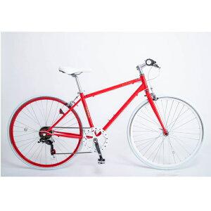 21Technology クロスバイク(6段変速付き)泥除けなし、ディレイラーガード無し (CL266-レッド) 4562320210300