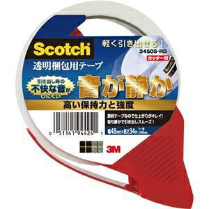 その他 (まとめ)3M スコッチ透明梱包用テープ(音が静か/軽く引き出せる) カッター付 3450S-RD 1巻 【×5セット】 ds-2360964