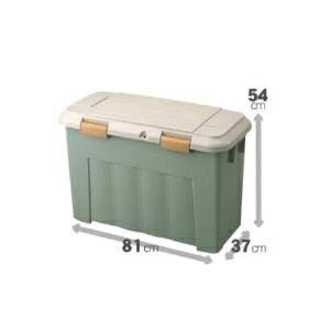 【4個セット】 ベランダストッカー(収納ボックス/ストレージボックス) フタ付き 【スリム 107L】 幅81cm グリーングレー ds-2395063