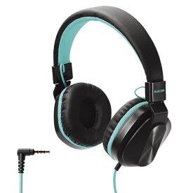 エレコム ヘッドホン 子供用 折りたたみ式 φ3.5mm 4極 通話可能 サイズ調整 ブラック×コバルトグリーン HS-KD02TBKG