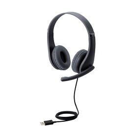 エレコム 子ども用 ヘッドセット 小学生 回転式マイクアーム USB 両耳 安全音量低減 サイズ調整機能付き ブラック HS-KD01UBK