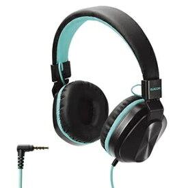 エレコム ヘッドホン 子供用 折りたたみ式 φ3.5mm 4極 通話可能 サイズ調整 ケーブル1.2m ブラック×コバルトグリーン オンライン学習 HS-KD02TBKG ds-2405978