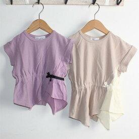 Will Mery ウエスト絞り リボンTシャツ 『クリックポスト200円』ウィルメリー 女の子 春 かわいい パープル ラベンダー 紫 ベージュ