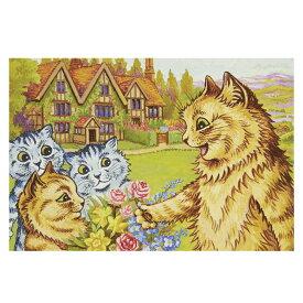 ポストカード ルイス・ウェイン 【庭にいる猫の家族】 世界の名画 イギリス 猫 オリジナルポストカード ポスカ ネコ ねこ 絵画 アート メッセージカード おしゃれ