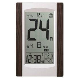 アデッソ 置き掛け兼用 デジタル日めくり電波時計 シルバー系 ADESSO KW9256