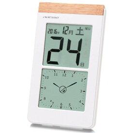 アデッソ 置き掛け兼用 デジタル日めくり電波時計 ホワイト ADESSO K-8656