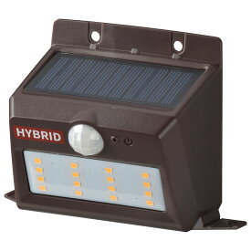 OHM オーム電機 ソーラー&乾電池センサーウォールライト 400lm 置型ブラウン LS-SHB140PN4-T