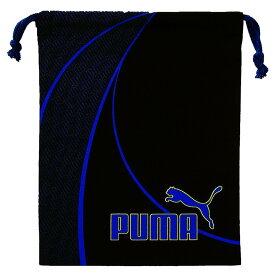 プーマ[PUMA] 巾着袋 Mサイズ ブラック×ブルー [体操着入れ プール用品入れ] クツワ 687PM [送料無料]