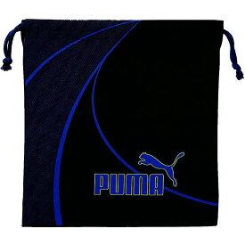 プーマ[PUMA] 巾着袋 Lサイズ ブラック×ブルー [体操着入れ プール用品入れ] クツワ 688PM [送料無料]