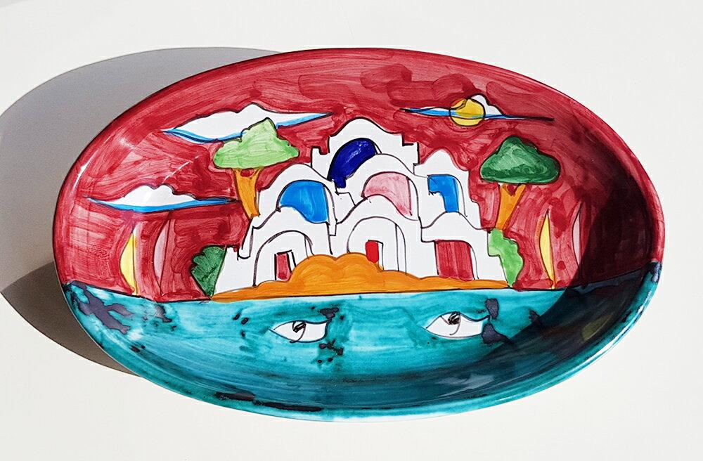 【皿以外同梱不可】展示用陶器 楕円深皿 20x12cm A