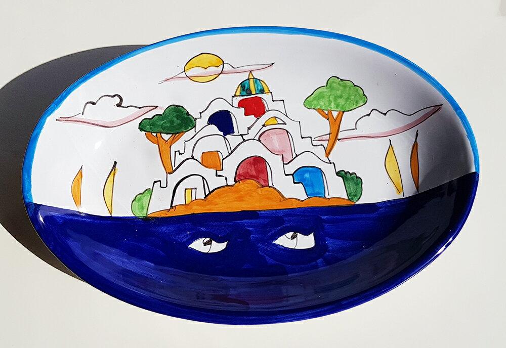 【皿以外同梱不可】展示用陶器 楕円深皿 27x17cm A