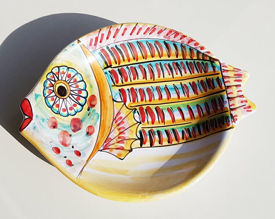 【皿以外同梱不可】展示用陶器 魚型小皿23cmx19cm A