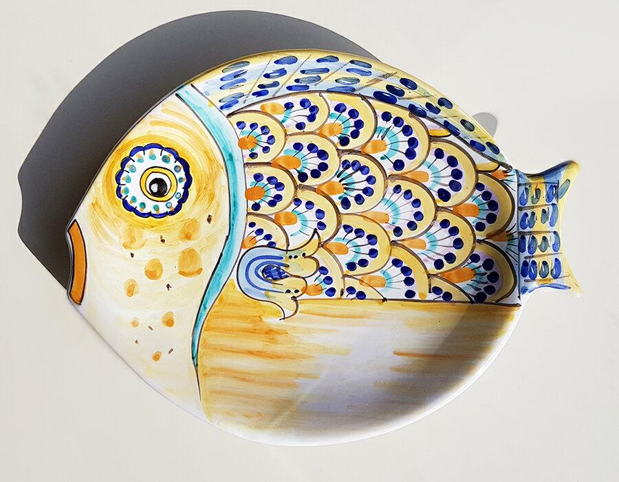 【皿以外同梱不可】展示用陶器 魚型小皿 35cmx28cm B