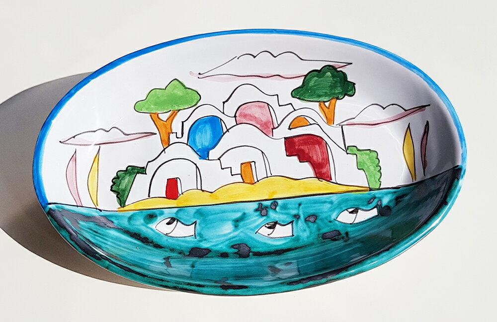 【皿以外同梱不可】展示用陶器 楕円深皿 20x12cm B