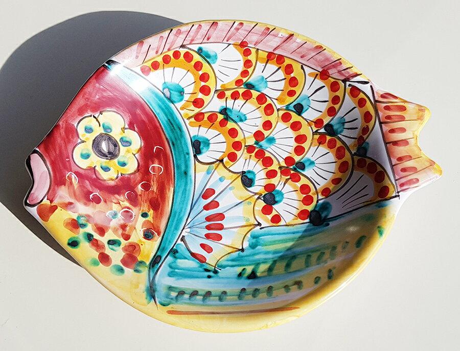 【皿以外同梱不可】展示用陶器 魚型小皿23cmx19cm B