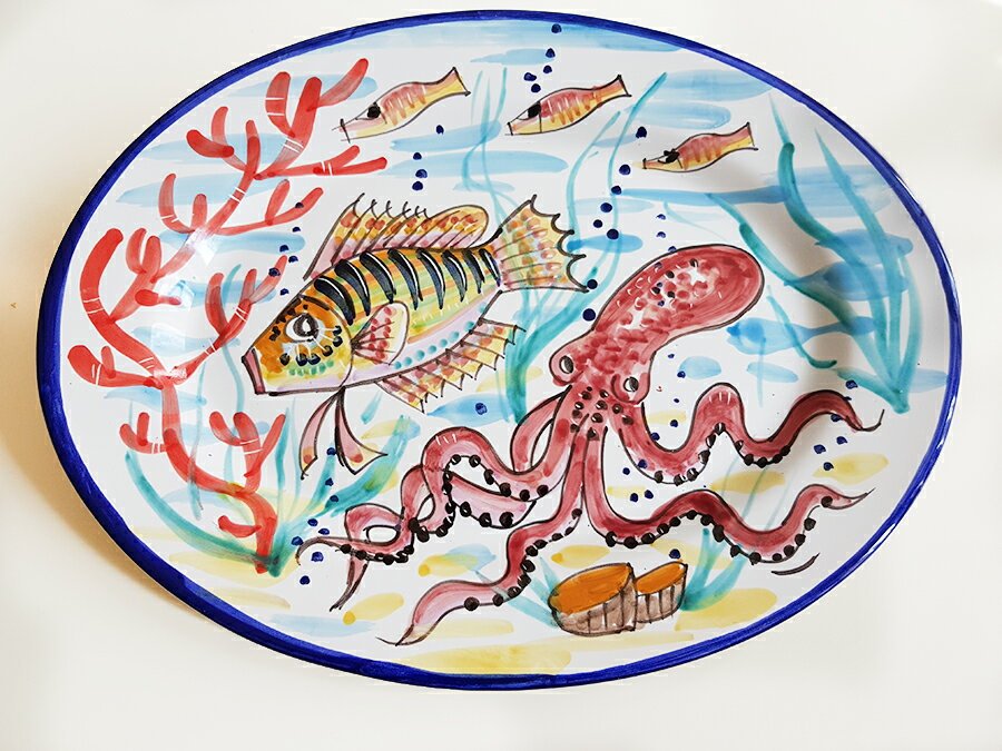 【皿以外同梱不可】展示用陶器 楕円 大皿 38x28cm FANTASY C