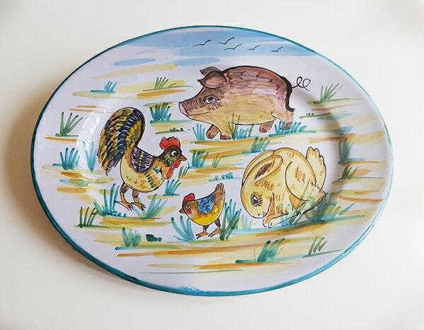 【皿以外同梱不可】展示用陶器 楕円 大皿 38x28cm FANTASY D