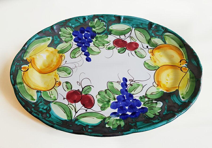 【皿以外同梱不可】展示用陶器 楕円 大皿 38x28cm FANTASY E