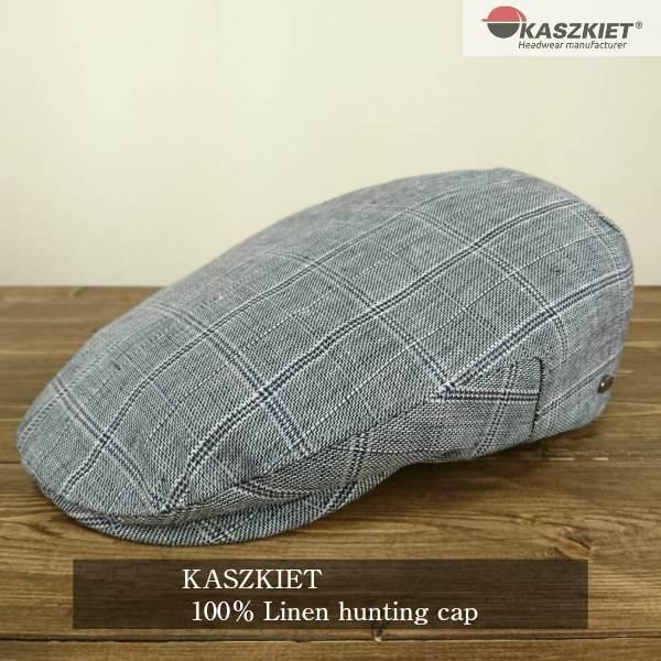 ハンチング帽子 メンズ ブランド リネン100% KASZKIET カシュケット ポーランド産 大きいサイズ 58cm 60cm 62cm サイズ調整機能付き 紳士 父の日 ギフト プレゼント チェック柄 グレー