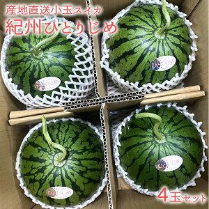 『スイカ 紀州ひとりじめ 4玉』農家さん直送!収穫後、順次発送中! 濃い 甘味 糖度 小玉 すいか 西瓜