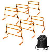 トレーニングハードル高さ調節可能6個セット(カラー:イエロー、オレンジ)