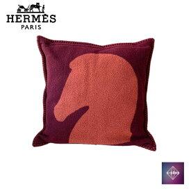 【極美品】 HERMES エルメス クッション カバー 馬 レッド 赤 オレンジ インテリア リビング カシミヤ カシミア 中古