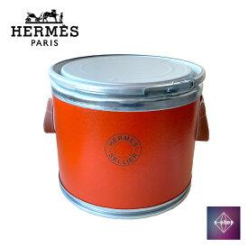 【美品】 HERMES エルメス サドルボックス BOX 缶 ドラム缶 馬具入れ シルバー金具 オレンジ インテリア セリエ オブジェ 中古