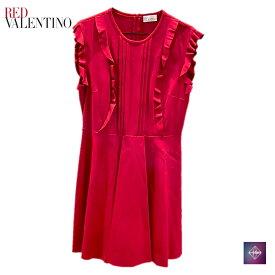 【新品未使用】RED VALENTINO レッドヴァレンティノ ラッフル ジャージ ドレス ワンピース ノースリーブ MR0MJ05G2Y2AR0 レッド 赤 レディース