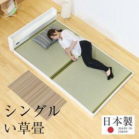 畳ベッド シングル ローベッド コンセント付き 棚付き たたみベッド ロータイプ 畳 畳ベット 木製ベッド おすすめラルゴ シングルサイズ 【中国産い草畳】1年間保証 日本製 送料無料