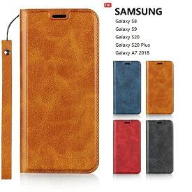 SAMSUNG Galaxy S8 docomo SC-02J / au SCV36 S9 SC-02K SCV38 / A7 2018 S20 S20 5G SC-51A SCG01 S20plus S20+ 5G SC-52A SCG02 手帳型 ケース 対応 case 高質合成皮革 内蔵マグネット カード入れ スタンド機能 ストラップホール付き ストラップ同梱