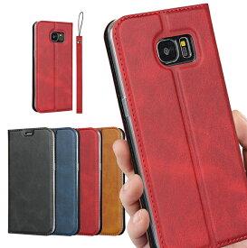 SAMSUNG Galaxy S7 edge Samsung Galaxy S7edge ケース 手帳型 サムスン SC-02H SCV33 カバー ギャラクシー s7 エッジ ケース case 高質合成皮革 内蔵マグネット カード入れ スタンド機能 シンプル落ち着いた色 高品質 ストラップホール付き ストラップ同梱